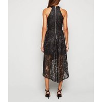 Mela Black Lace Dip Hem Halter Neck Dress New Look