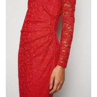 Mela Red Ruched Lace Bodycon Dress New Look