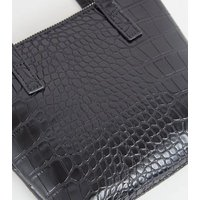 Black Faux Croc Mini Tote Shoulder Bag New Look