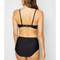 Black Scoop Crop Bikini Top New Look