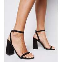 Black Suedette Skinny Strap Flared Block Heels New Look Vegan