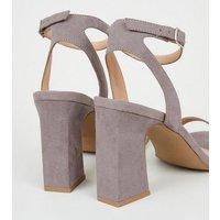 Grey Suedette 2 Part Block Heels New Look