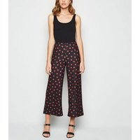 Black Spot Print Wide Leg Crop Trousers New Look