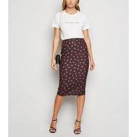 Black Spot Scuba Pencil Skirt New Look