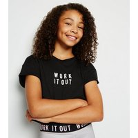 Girls Black Work It Out Slogan T-Shirt New Look