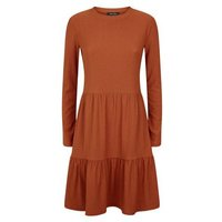 Rust Crinkle Long Sleeve Smock Dress New Look
