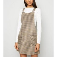 Yellow Check Ring Buckle Pinafore Dress New Look