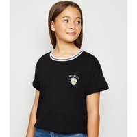 Girls Black Have A Nice Day-Sy Slogan T-Shirt New Look