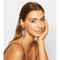 Silver Diamante Embellished Waterfall Earrings New Look