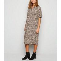 Maternity Brown Spot Shirt Dress New Look