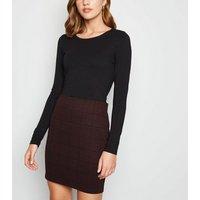 Burgundy Check Tube Mini Skirt New Look