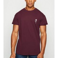 Burgundy Rose Embroidered T-Shirt New Look
