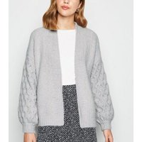 Pale Grey Cable Sleeve Knit Cardigan New Look