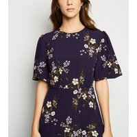 Navy Floral Puff Sleeve Midi Dress New Look