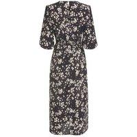 Black Daisy Print Side Split Midi Dress New Look