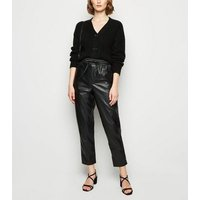 Black Coated Leather-Look Tie Waist Joggers New Look