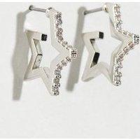 Silver Cubic Zirconia Star Earrings New Look