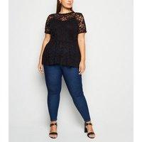Curves Black Floral Lace Peplum T-Shirt New Look