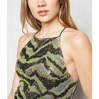 Noisy May Green Sequin Animal Print Bodysuit New Look