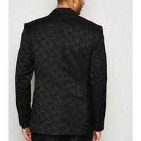 Men's Black Jacquard Skinny Suit Jacket New Look