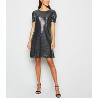 Mela Silver Metallic Puff Sleeve Dress New Look