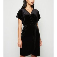 Mela Black Velvet Wrap Front Dress New Look