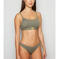 Olive Chevron Buckle Front Crop Bikini Top New Look