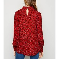 Red Spot Frill Neck Puff Sleeve Blouse New Look