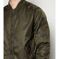 Khaki Nylon Bomber Jacket New Look