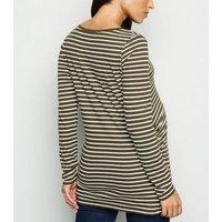 Maternity Khaki Stripe Long Sleeve Top New Look
