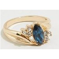 Gold Diamante Vintage Style Navette Ring New Look