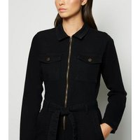 Black Long Sleeve Denim Jumpsuit New Look