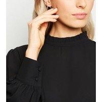 Petite Black Frill Trim Long Sleeve Blouse New Look