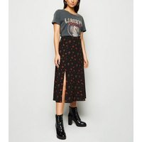Petite Black Rose Split Side Midi Skirt New Look