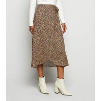 Petite Brown Leopard Print Wrap Midi Skirt New Look