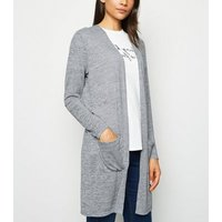 Pale Grey Fine Knit Pocket Cardigan New Look
