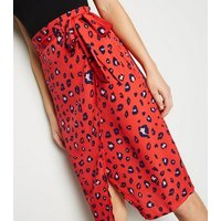 Influence Red Leopard Print Wrap Skirt New Look