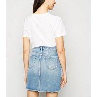 Pale Blue Ripped Denim Mom Skirt New Look