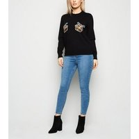 Petite Black Sequin Mince Pie Christmas Jumper New Look