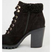 Black Teddy Trim Block Heel Lace Up Boots New Look Vegan