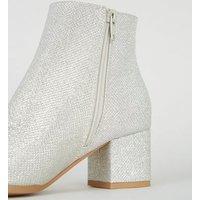Girls Silver Glitter Block Heel Ankle Boots New Look