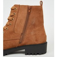 Wide Fit Tan Teddy Lined Chunky Lace Up Boots New Look Vegan