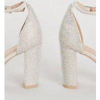 Silver Diamante 2 Part Block Heels New Look