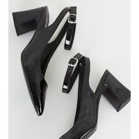 Wide Fit Black Patent Flared Heel Courts New Look Vegan