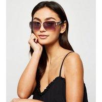 Dark Brown Diamanté Rimless Sunglasses New Look