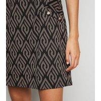 Mela Black Geometric Print Shift Dress New Look
