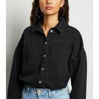 Black Denim Boxy Shirt New Look