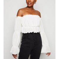Cameo Rose White Chiffon Crop Top New Look