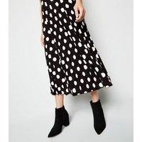 Black Spot Pleated Midi Skirt New Look