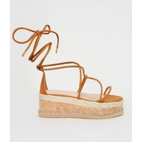 Tan Strappy Ankle Tie Flatform Sandals New Look